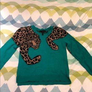 BCBGMaxAzria Cheetah Green Sweater
